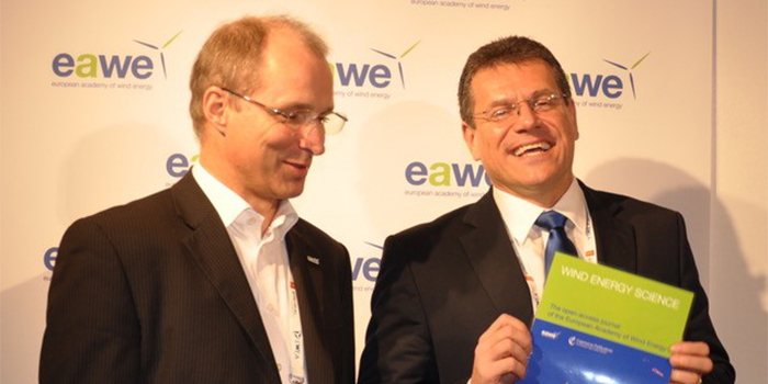 Editor-in-chief at Wind Energy Science, Jakob Mann, DTU Wind Energy (left), and Vice-President of the EU Commission, Maroš Šefčovič